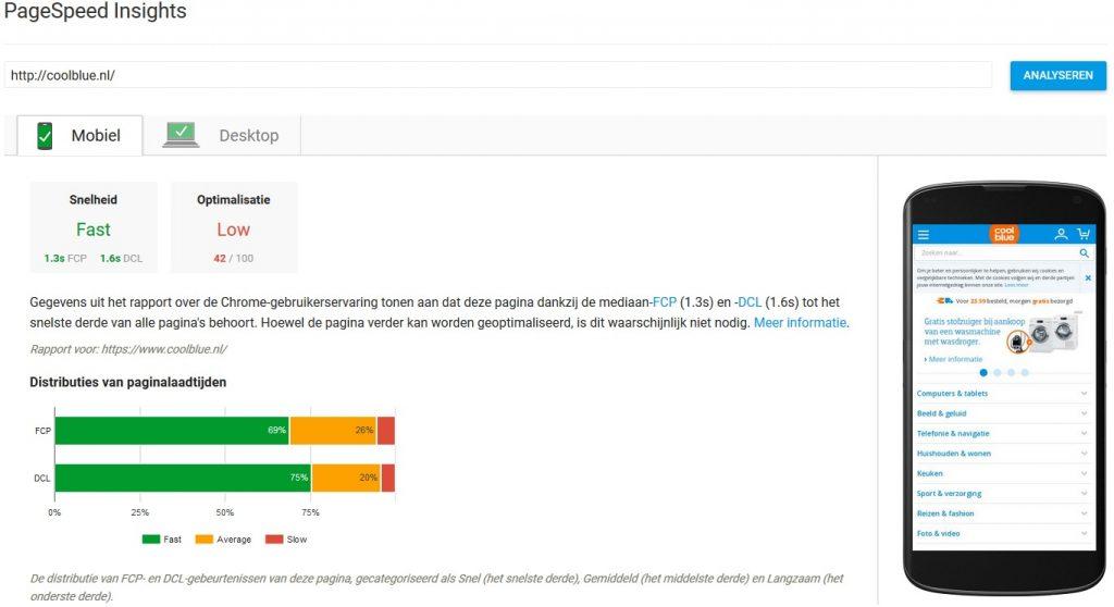 Voorbeeld PageSpeed test op Coolblue